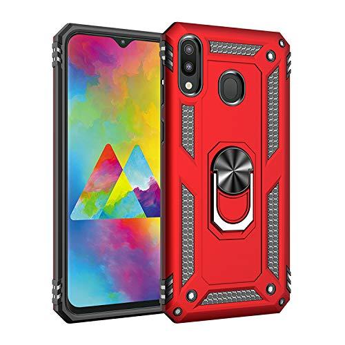 BestST Galaxy M20 Hülle, für Samsung Galaxy M20 Schutzhülle 360 Grad Drehbar Ringhalter mit Magnetischer Handyhalter Auto Handy hülle + Panzerglas Displayschutz - Rot