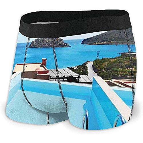 Web--ster Men 'S Boxer Briefs Piscina Hotel con Vistas Isla Creta Grecia...