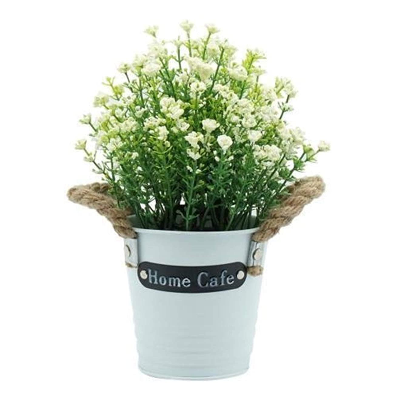 高度な有限保険KAYINXLN ホームギフト用の人工花の鉢植えを設定デスクトップフェイク植物盆栽プラスチック製の花瓶のフェイクフラワーウェディングクリスマスの飾り (色 : ホワイト)