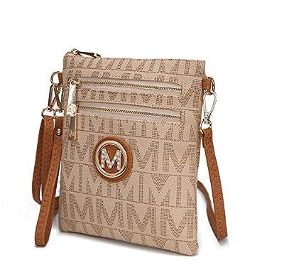 Mia K. Collection Crossbody Bag for Women Or Wristlet Purse - Removable Strap - Vegan Leather Small Designer Side Messenger, Beige