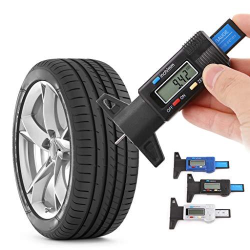 bhty235,Reifen Tiefenmesser,Digitale Autoreifen Reifen Profiltiefenmesser LCD Display Tiefe Messschieber 0-25mm