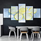 bnkrtopsu 5 Photos sur Toile Impressions sur Toile 5 Pièces Salon Chambre peintures murales et Affiches décoratives créatives(Pas de Cadre Glaçons d'eau Froide au Soda au Citron