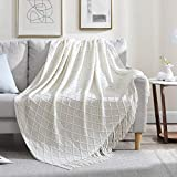 Walensee Throw Blanket for Couch (50' x 60', White) 100% Acrylic Knit Woven Blanket, Lightweight Decorative Soft Blanket with Tassels for Chair, Bed, Sofa, Travel, Suitable for All Seasons