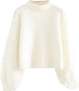 Womens Sweaters Pullovers Bead Lantern Sleeve Knitted Sweater Tops Jumper