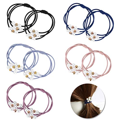 FASHIONROAD 10 Pcs Pearl Hair Ties Ropes, Multi Layer Hair Ring with Pearls Elastic Bracelet Pearl Hairband, Korean Hair Accessories for Women and Girls