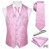 Barry.Wang Juego de 5 chalecos para hombre con complementos y diseño de cachemira Rosa rosa 100
