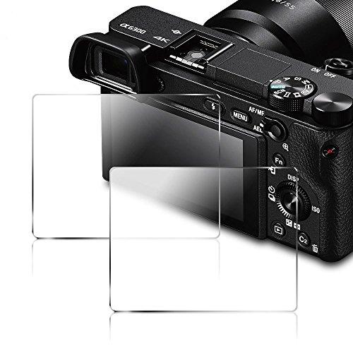 Displayschutzfolie für Sony DSLR Alpha Nex-7 NEX-5 A6000 A6300 A5000 Kamera, AFUNTA Anti-Kratzer gehärtetes Glas 9H Cover (2 Stück)