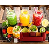 Zybnb Jugo Tomates Fruta Vegetal Comida Papel De Pared, Sala Cocina Restaurante Tienda De Comida Rápida Bar Cafetería Mural