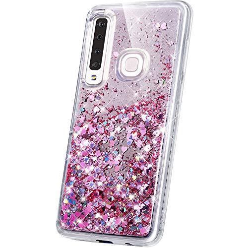 JAWSEU Compatible avec Samsung Galaxy A9 2018 Coque Miroir Silicone,Liquide Paillette Brillant Bling Glitter Miroir Transparente Slim Souple Gel Case Femme Fille pour Galaxy A9 2018,Rose