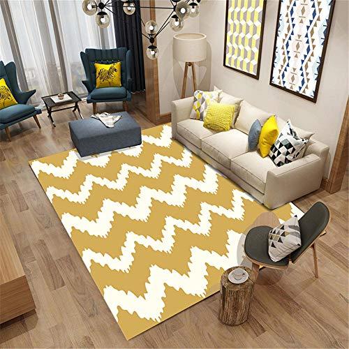 Alfombras De Salon amarillo Alfombra de estilo moderno patrón de rayas de graffiti amarillo alfombra suave antiácaros Alfombras Pie De Cama El 180X280CM Alfombras De Pelo Para Habitacion 5ft 10.9''X9f