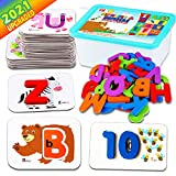 CozyBomB Toddler Alphabet Flash Cards - Preschool Activities Learning Montessori Toys ABC Wooden Letters Jigsaw Numbers Alphabets Puzzles Flashcards for Age 2 3 4 Years Old Educational for Kids Baby