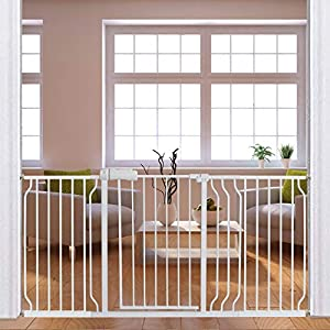 Fairy Baby Extra Wide Baby Gate for Dogs Pressure Monuted Safety Gate for Living Room, Fits 62 Inch to 67 Inch with Pressure Mounted Extention Kit, White