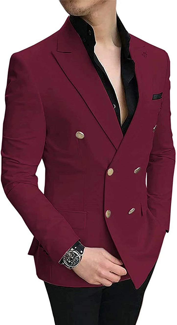 RONGKIM Men's Suit Casual Prom Tuxedos Slim Fit 2 Pieces Double Breasted Notch Lapel for Wedding Groom