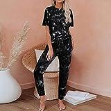 Conjunto De Pijama De Mujer,Estampado Negro Manga Corta Lounge Wear Homewear Suit Loungewear Set Mujeres Dormir Ropa De Dormir Otoño Invierno Homewear Ropa De Navidad, S