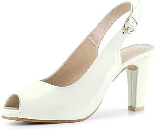 Allegra K Women's Peep Toe Dress Slingback Chunky Heel Pumps