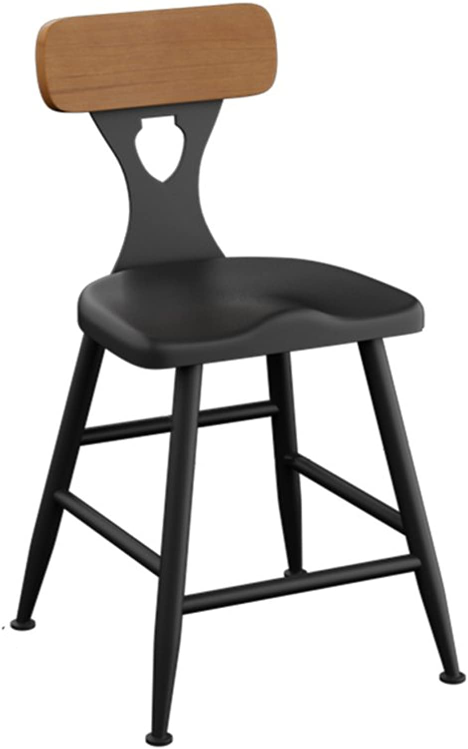 XIAO YING American Iron Solid Wood Bar Stool Home Bar Stool High Stool Modern Simple Bar Stool Bar Stool High Chair Creative Sool (color   Backrest, Size   40  40  65cm)