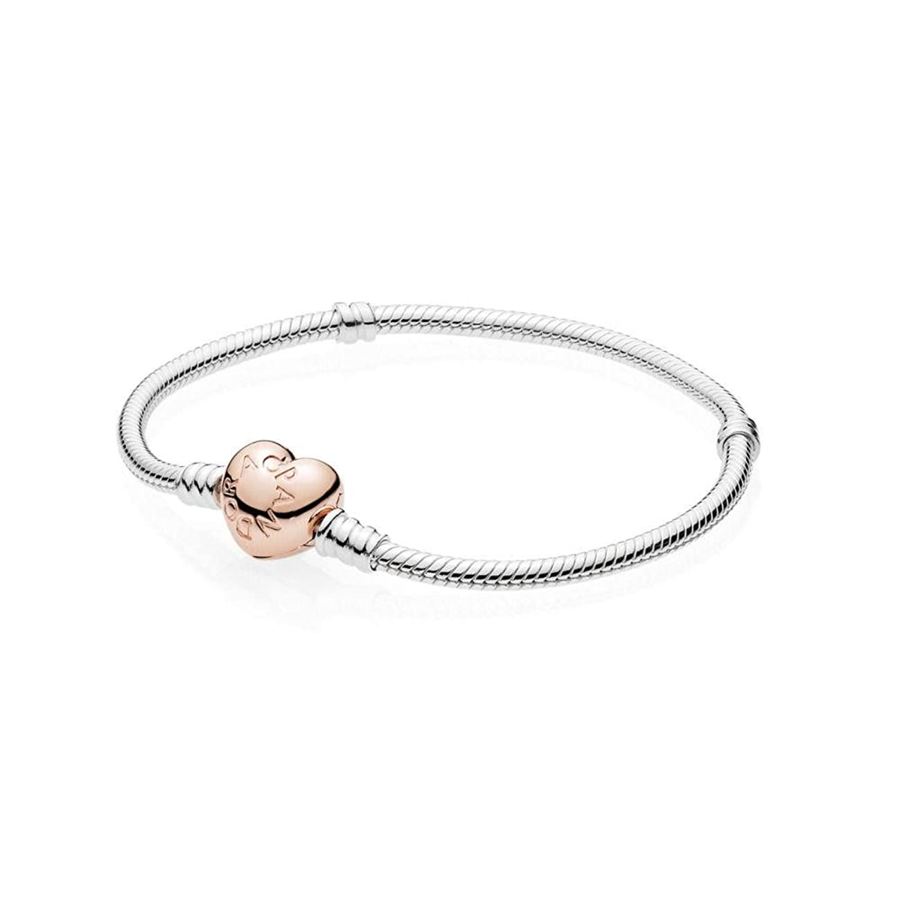 Pandora Moments Silver Bracelet with Rose Heart Clasp 58071919