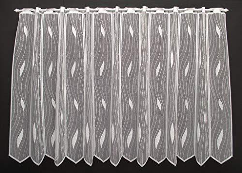 Scheibengardine mit Tropfenmuster 100 cm hoch | Breite der Gardine durch gekaufte Menge in 14 cm Schritten wählbar (Anfertigung nach Maß) | Weiß | Vorhang Küche Wohnzimmer