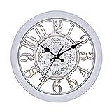 [イヴ エヴァン] 北欧風 アンティーク調 掛け時計 【選べる5色】 静音 連続秒針 ウォール クロック (ホワイト)