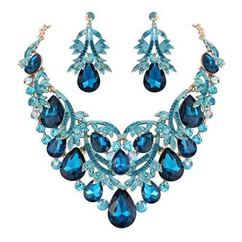 Clearine Schmuckset Party Braut Böhmisch Tropfen Kristall Blatt Aushöhlen Statement Halskette Dangle Ohrringe Set für Damen Türkis Farbe Gold-Ton