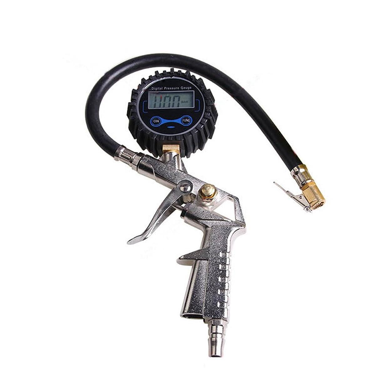 シャンパン背景動く車用 220psi/ 16barまで タイヤ空気圧ゲージ タイヤゲージ エアゲージ デジタルタイヤプレッシャーゲージ