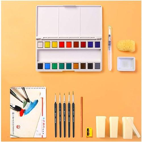 Aquarelle solide, peinture, ensemble, ensemble pour aquarelle, gouache solide sous-emballée, portable de couleur unie, couleur vive Ensemble de croquis dessiné à la main Comic Facile à transporter