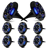Solar Ground Lights, 8 LED Disk Lights Solar Powered Waterproof In-Ground Lights for Garden, Lawn, Pathway, Walkway, Deck, Yard by ZONGOOL (8 Packs, Warm+Blue)