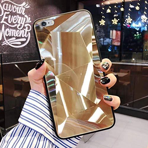 Uposao Compatible con Funda iPhone 6/6S Purpurina Funda,Espejo Glitter Brillante Carcasa con 3D Geométrico Diseño TPU Slim Silicona Carcasa Funda Caso para iPhone 6/6S,Oro