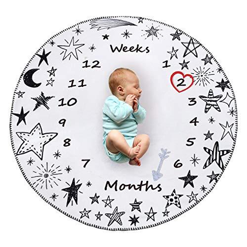 Manta Polar Bebe Con Hito Mensual Fotografia Suave, Mantitas Bebe Recien Nacido, Manta Arrullo Bebe para Niña & Niño Blanco 120 * 100cm (Estrella)