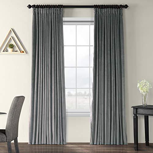 HPD Half Price Drapes VPCH-VET1222-96 Signature Extra Wide Blackout Velvet Curtain (1 Panel), 100 X 96, Natural Grey