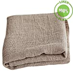 "100% Natural Rough Linen Bath Towel - Open Weave Exfoliating Towel 28x59"" Inches Bathroom Body Cloth Wrap Quick Dry Flax Linen Cooling Blanket Closeup Folded Fabric Texture"