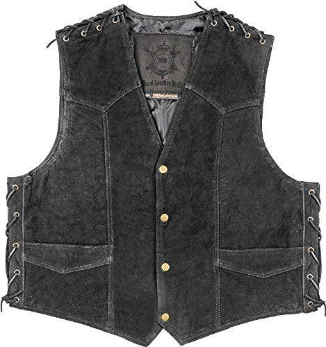 Lederweste SCOUT schwarz - Original Biker & Western Style - Neu - Top Qualität, Farbe:Schwarz;Größe:5XL