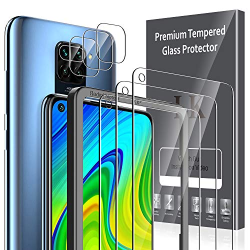LK 6 Stück Schutzfolie für Xiaomi Redmi Note 9, Schutzfolie Und Kamera Schutzfolie, 9H Festigkeit Schutzfolie, HD Klar Bildschirmschutz, Kratzen Blasenfrei Einfacher Montage