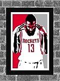 Houston Rockets James Harden Portrait Sports Print Art 11x17