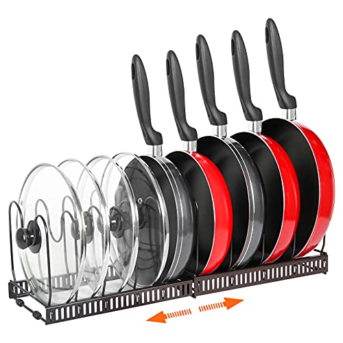 Pot Rack Organizer -Expandable Pot and Pan Organizer for Cabinet,Pot Lid Organizer Holder with 10 Adjustable Compartment for Kitchen Cabinet Cookware Baking Frying Rack,Bronze