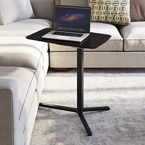 Mesa de cama portátil de tubo de acero con tablero DM negro, ruedas con cierre, altura ajustable, mesa de salón para cama, sofá, libros, escritorio de enfermería