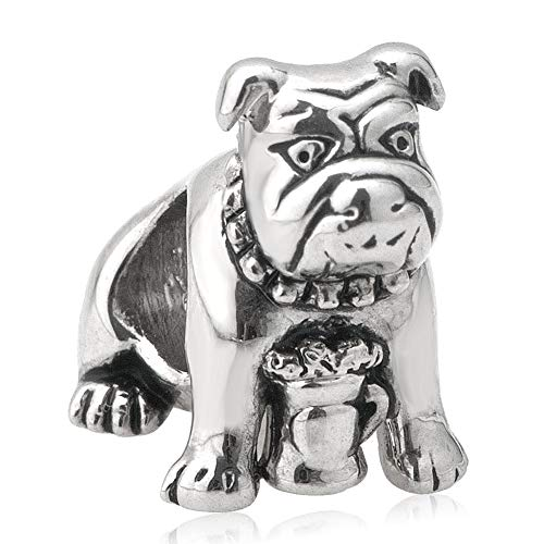 DemiJewelry Cute Pet Bulldog Charm Beads Fit European Charm Bracelets