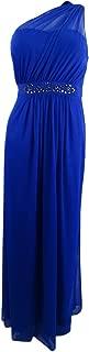 Adrianna Papell Womens Sheer Overlay One Shoulder Evening Dress
