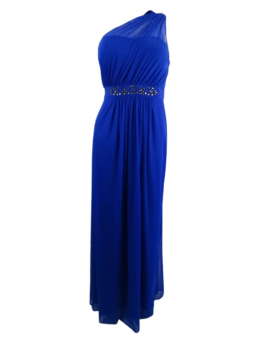 Available at Amazon: Adrianna Papell Women's Sheer Overlay One Shoulder Evening Dress Blue 12