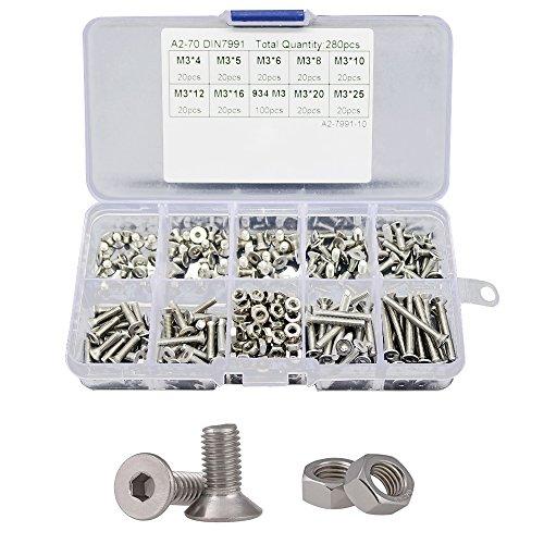 Adiyer 280 Pcs Metric M3 x 4/5/6/8/10/12/16/20/25mm Countersunk Flat Head Hex Socket Cap Screws Nuts Set Assortment Kit, 304 Stainless Steel