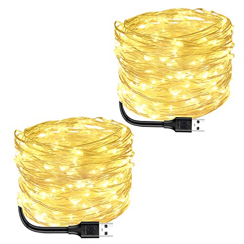 Blingstar Fairy Lights 2 Pack USB Powered String Lights Warm White 33Ft 100 Led Christmas Lights Fairy String Lights for Party Wedding Festival Bedroom Table Decoration