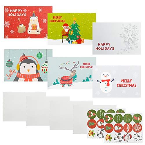 Inntek Cartoline di Natale, 24 Biglietto Auguri Natale con Buste e Adesivi da Busta, Regalo Natale Cartoline, Cartolina di Natale per Salutare Familiari, Amici e Colleghi