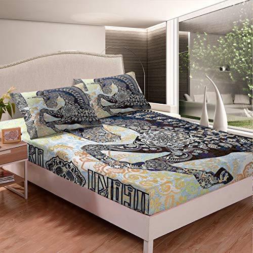 Juego de sábanas de unicornio con diseño de caballo, bohemio, chic, mandala, juego de cama para niños y niñas, juego de cama con 2 fundas de almohada de 3 piezas