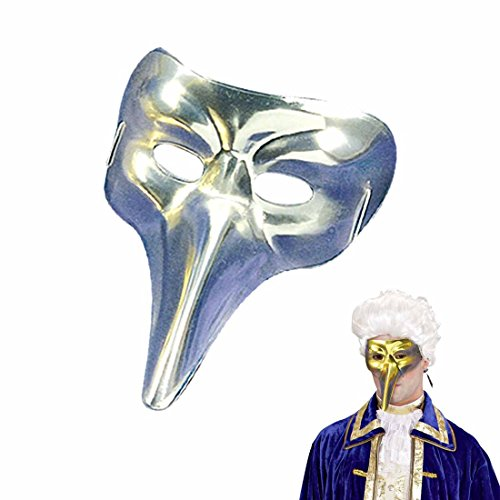 Amakando Edle Schnabelmaske Venezianische Maske Zanni Silber glänzende Pantalone Augenmaske Karneval Venedig Maskenball Accessoire Pestmaske