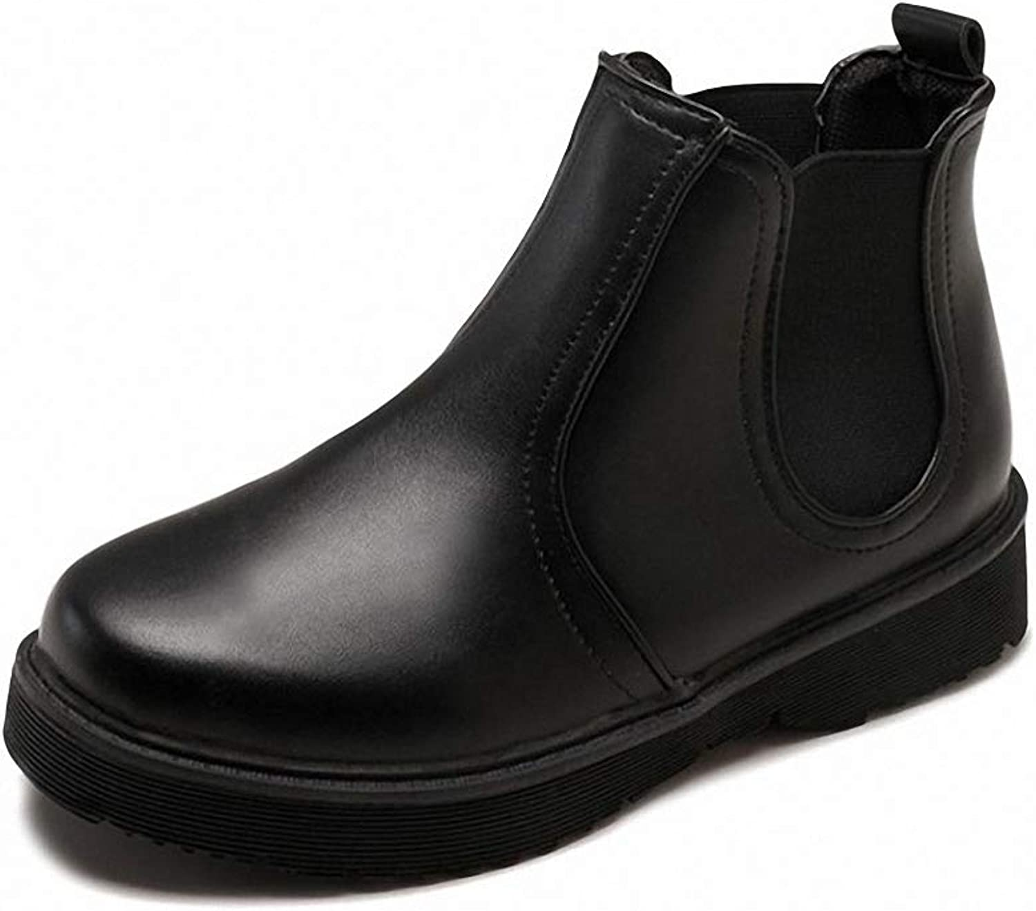 Kyle Walsh Pa Women PU Leather Ankle Boots,Black Brown Plus Size Flat Platform Slip On Boots