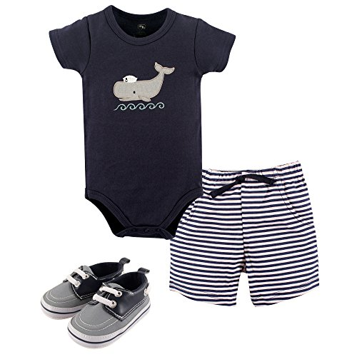 Hudson Baby Baby Cotton Bodysuit, Shorts and Shoe Set, Sailor Whale, 6-9 Months