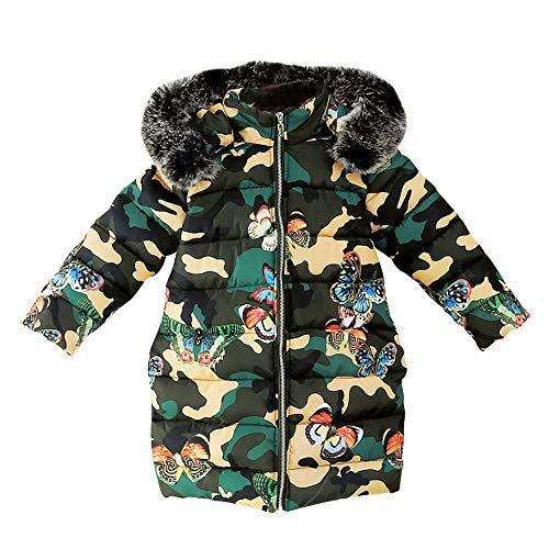 Proumy ◕ˇ∀ˇ◕Kleinkind Kleidung Winter Mädchen Verdickung Farbe Pelzkragen Daunenjacke Lange Winterjacke Kinder Bekleidung (Mehrfarbig,9 Years)