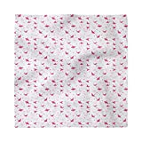 """Ambesonne Love Decorative Napkins Set of 4, Origami Cranes with Heart on Silhouette Bare Branches Background, Satin Fabric for Brunch Dinner Buffet Party, 18"""" x 18"""", Magenta Pink Pale Grey"""