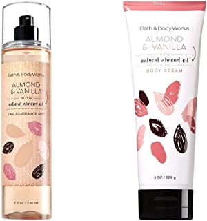 Bath and Body Works  Almond Vanilla Mist and Cream Set Original Naturals Line White Packaging 8 Ounce Each
