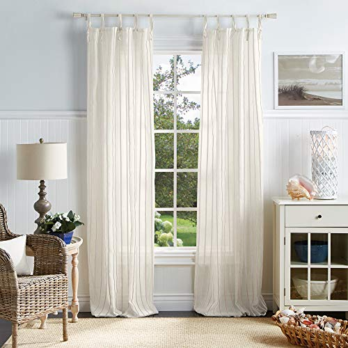 "MARTHA STEWART Laguna Stripe Semi-Sheer Tie Tab Window Curtain Panel Pair, 84"", Mocha"
